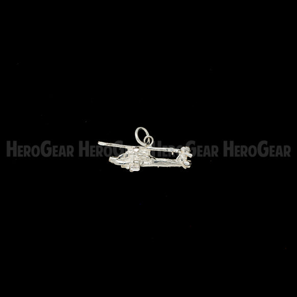 AH-64 Apache Military Helicopter Charms, Lapel Pins, and Tie Tacks in Solid Sterling Silver