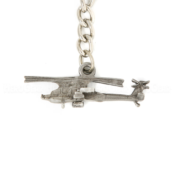 Apache Attack Helicopter 3D Pewter Key Chain or Bag Pull