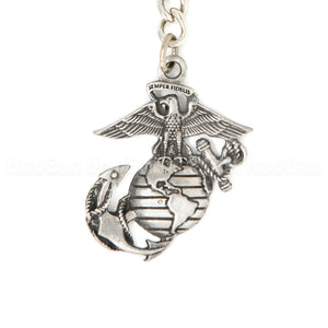USMC Globe and Anchor Pewter Key Chain or Bag Pull