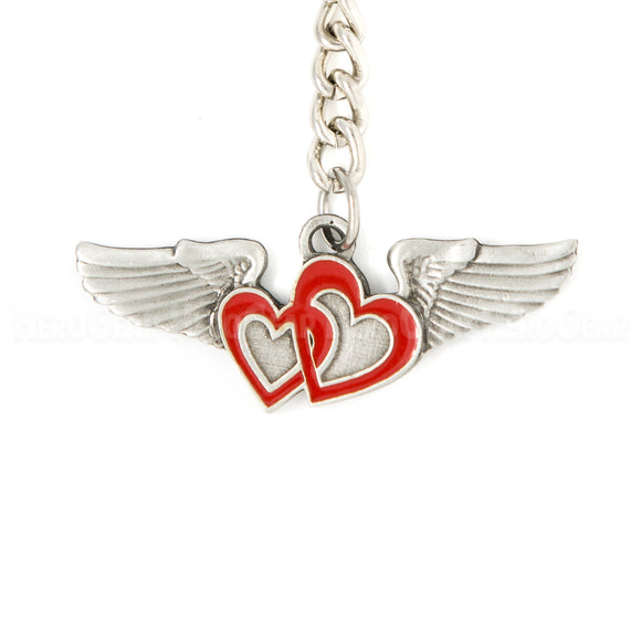 Wings - Pilot's Sweetheart Pewter Key Chain or Bag Pull