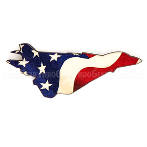 F-14 Wood American Flag Magnet