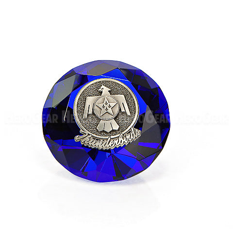 Crystal Paperweights - BLUE Diamond with Large Pewter Crest