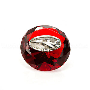 Crystal Paperweights - RED Diamond with Large Pewter Crest
