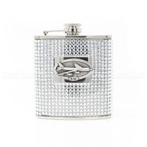 BLING!! 6 oz RHINESTONE Flask with Large Crest
