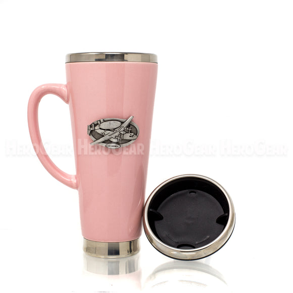 Ceramic Exterior PINK Travel Mug