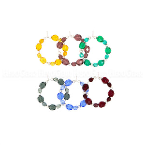 JEWEL TONES Czech Glass Beaded Hoops (Choose any 6 charms)