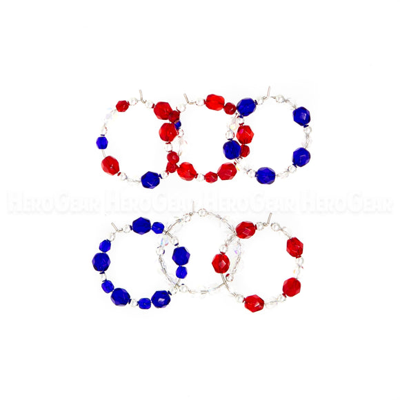 RED, WHITE, and BLUE Czech Glass Beaded Hoops (Choose any 6 charms)