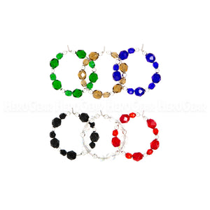 TRUE COLORS Czech Glass Beaded Hoops (Choose any 6 charms)