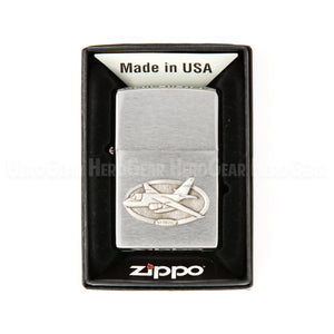 Zippo Brushed Chrome Lighter, Small Crest