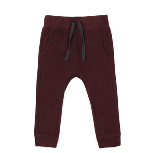 Frotté drop-crotch pants, aubergine