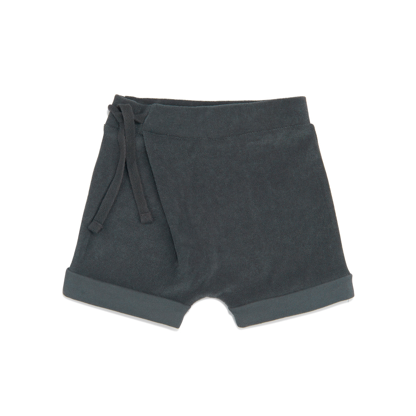 Frotté harem shorts in slate green