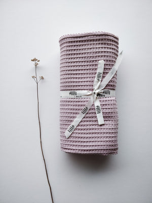 Waffle towel with a hood, dusty pink