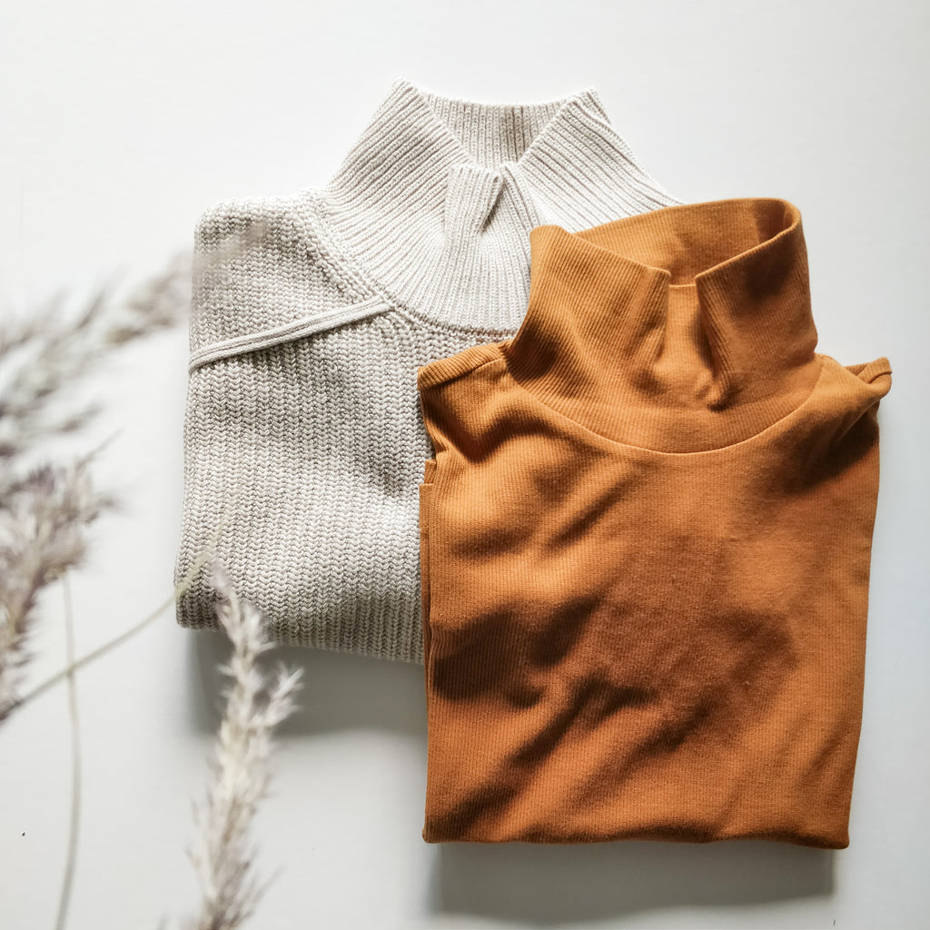 Rib turtleneck tee l/s, gold ochre