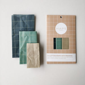 Cotton Wrap with beeswax 3-pack, Cold colours