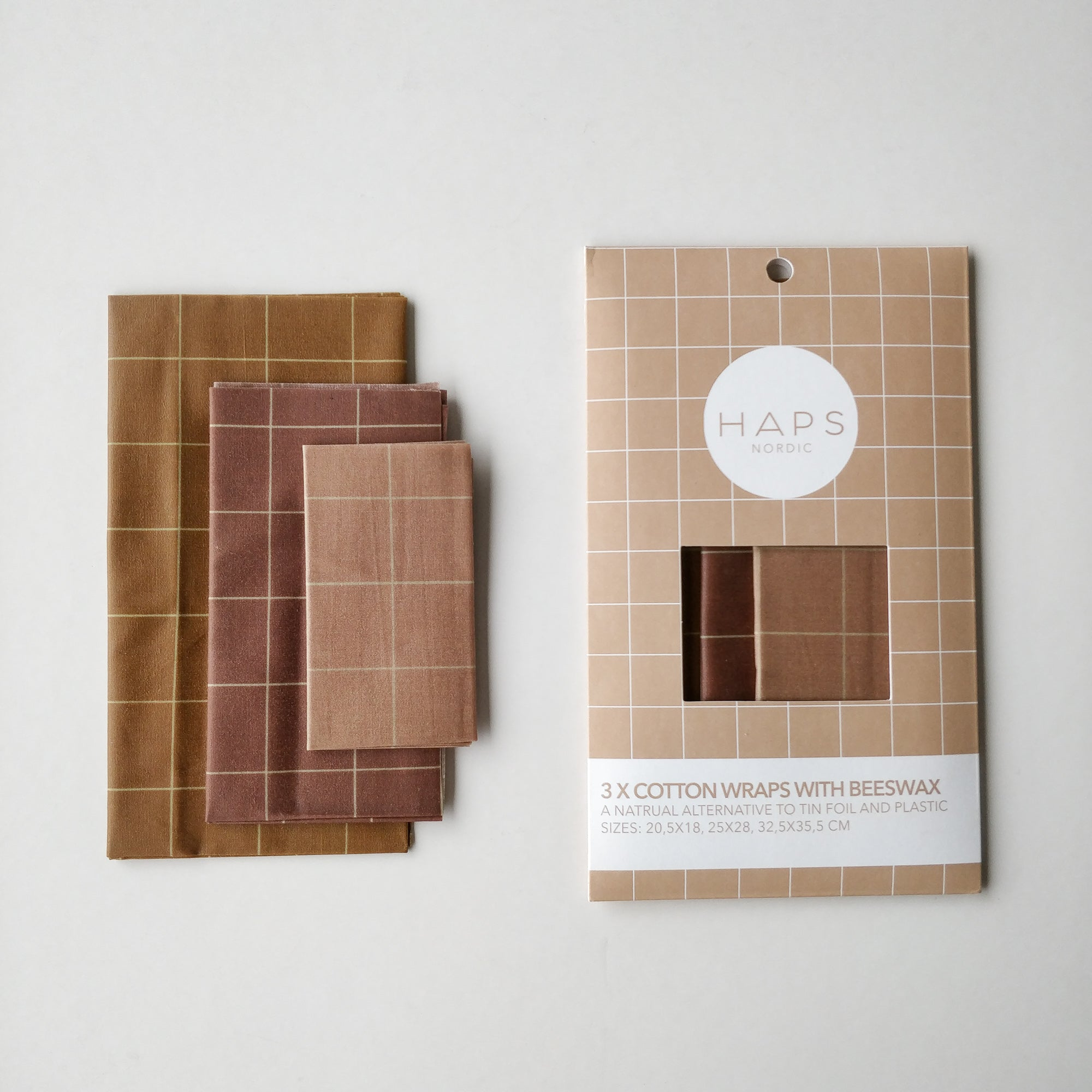 Cotton Wrap with beeswax 3-pack, Warm colours