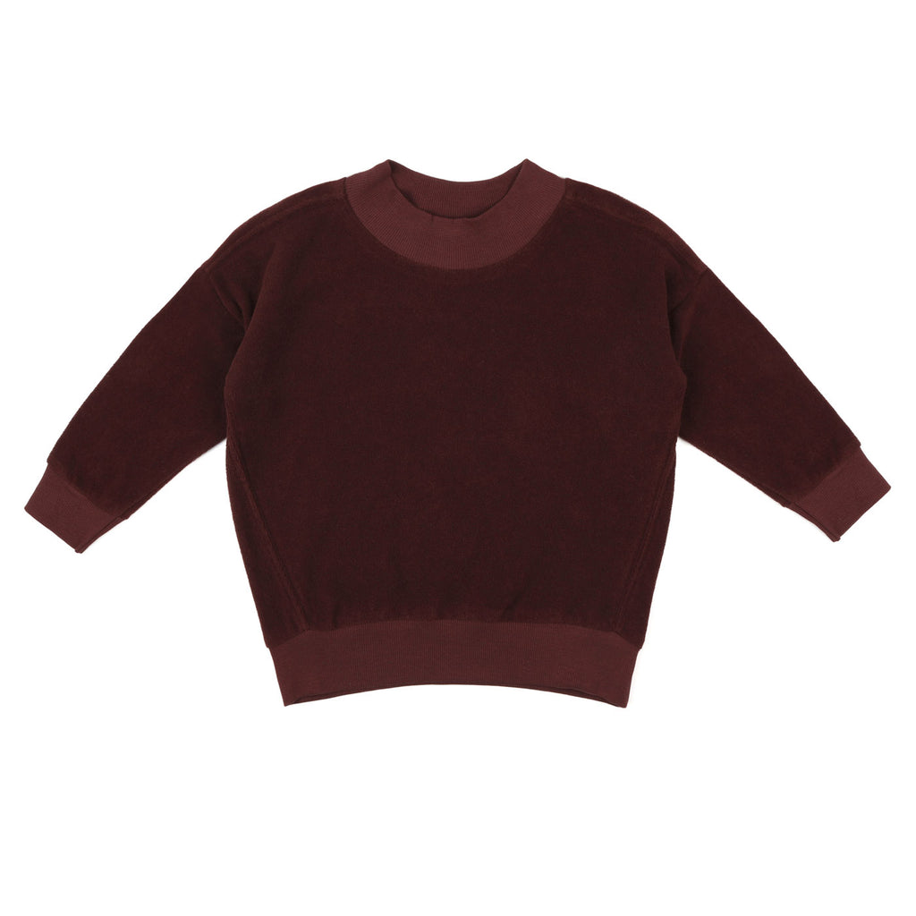 Oversized frotté sweater, aubergine