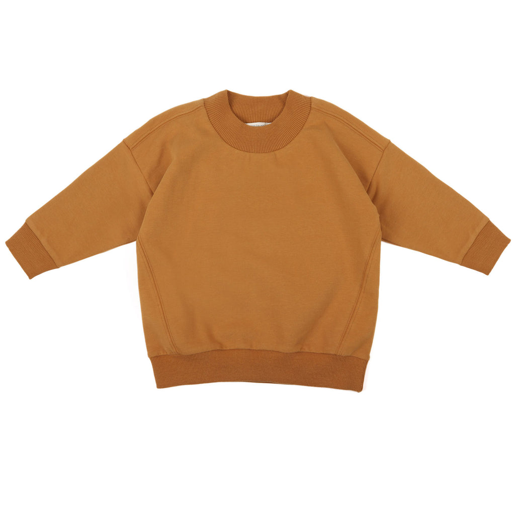 Oversized rib-neck sweater, gold ochre