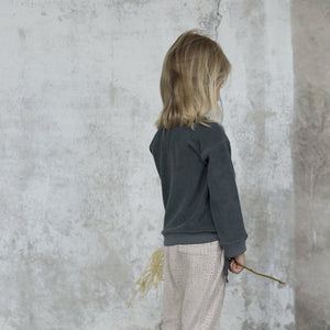 Frotté sweater in slate green