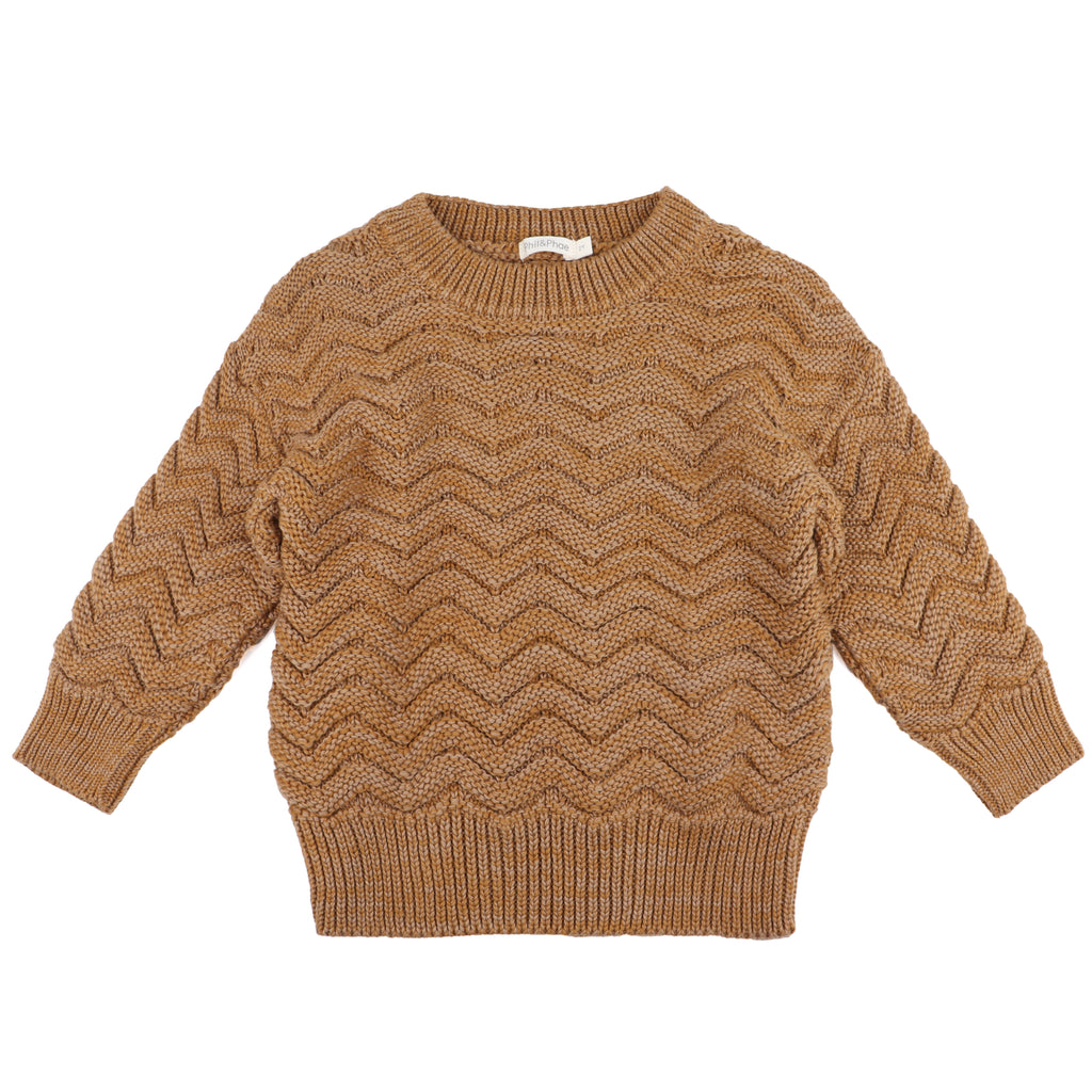 Chevron knit sweater, antique brass melange