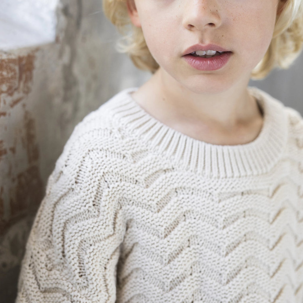Chevron knit sweater, oatmeal