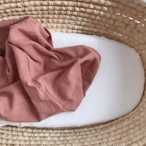 Muslin swaddle blanket, dusty powder