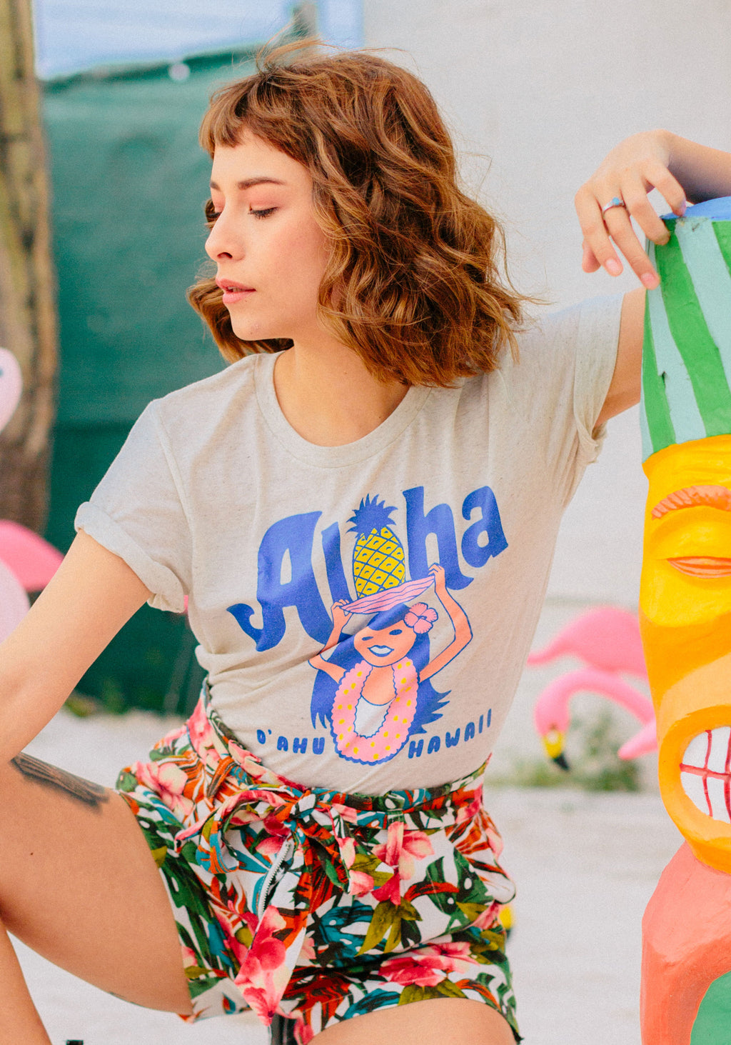 Aloha Oahu Tee / womens graphic tees / hawaii travel souvenir gifts / spring break t-shirt / pineapple island beach shirts