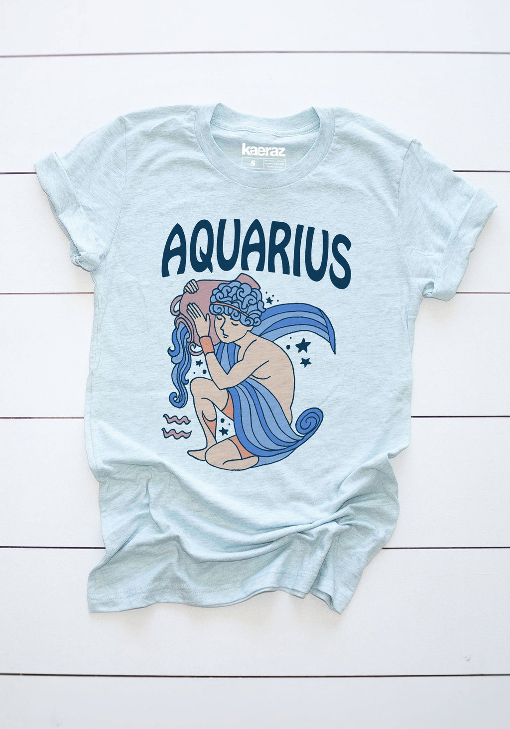 The Aquarius Tee / womens graphic tees / 60s 70s vintage style t shirt / zodiac astrology gifts tshirt / age of sign mystical shirts