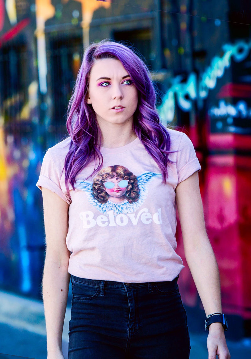Beloved Tee / womens graphic tees / valentines day vday shirt / vintage retro angel cherub / galentines love gift for her tshirt