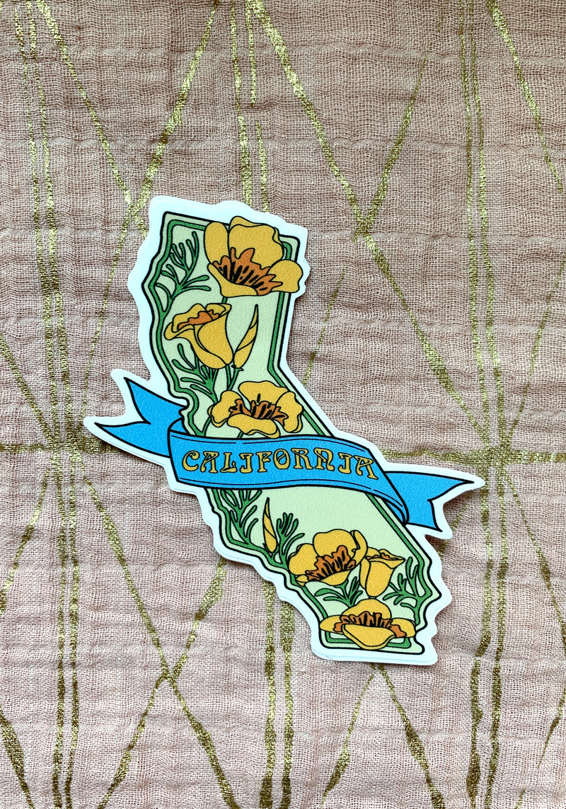 California Poppy Sticker / stickers accessories / paper goods / vinyl durable sticker pack