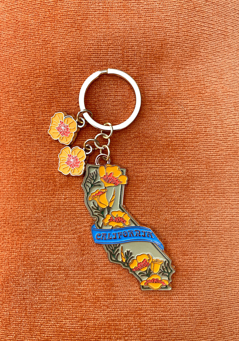 California Poppy Keychain / womens accessories / key chain CA Los Angeles / souvenir poppies floral charm