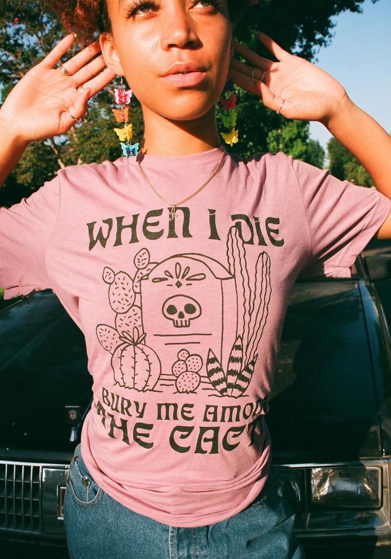 Bury Me Among the Cacti Tee / womens graphic tees / vintage style retro 70s t shirt / cactus western shirt / southwest t-shirt