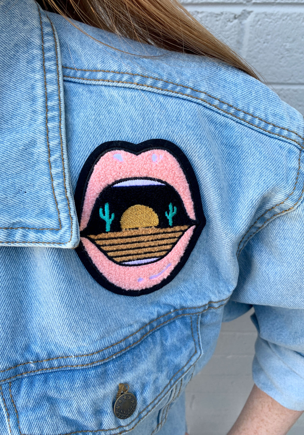 Dry Mouth Chenille Patch / patches for jackets backpack / sticker iron on / desert cactus southwest souvenir / mouth lips
