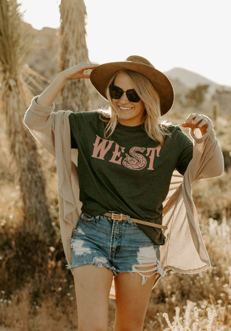 Diamond West Tee / womens graphic tees / vintage style retro 70s t shirt / western cowgirl shirt / arizona gifts rattlesnake snake t-shirt