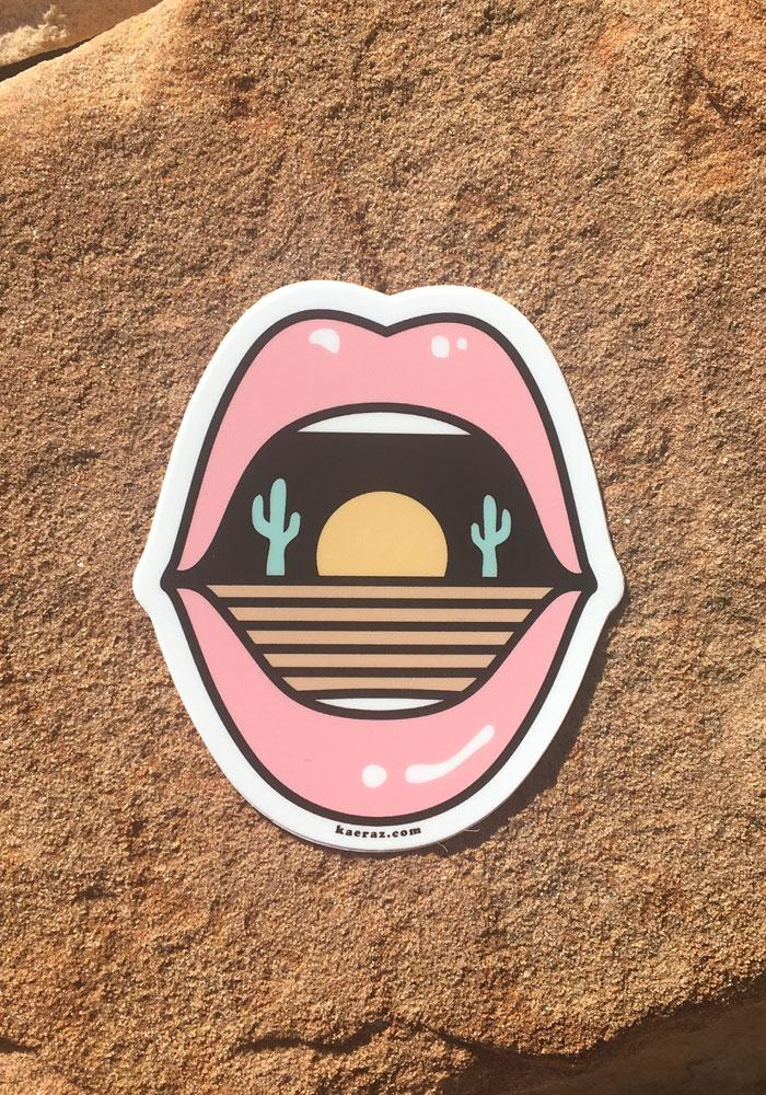 Dry Mouth Sticker / stickers pack set laptop art / arizona cactus southwest death valley mouth lips / vinyl die cut decal