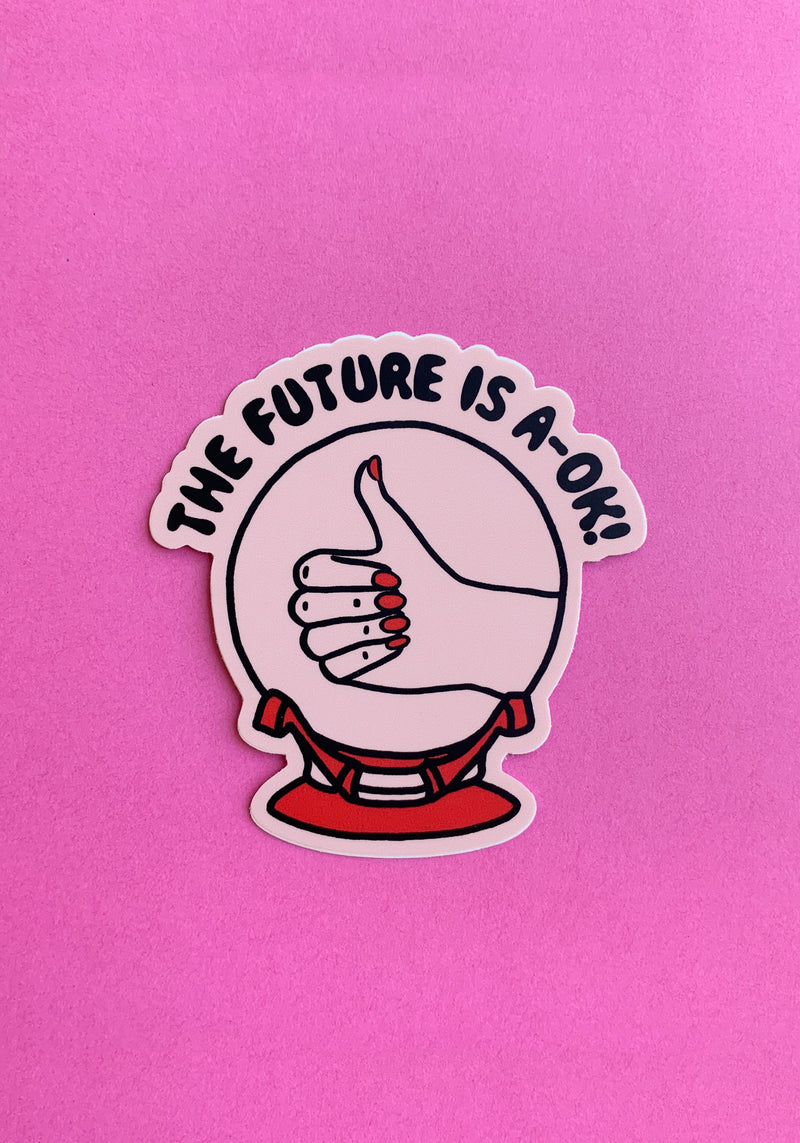 Future Is A-OK Sticker / stickers pack set laptop art / 60s 70s vintage retro crystal ball witchy / thumbs up vinyl die cut decal