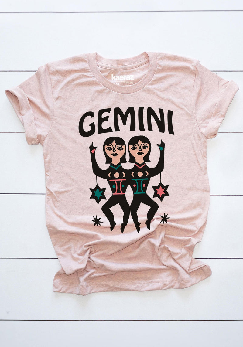The Gemini Tee / womens graphic tees / 60s 70s vintage style t shirt / zodiac scale astrology gifts tshirt / witchy clothing mystical shirts