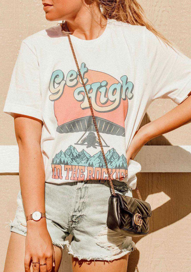 Get High in the Rockies Tee / womens graphic tees / vintage style Colorado souvenir t shirt / rocky mountain national park / travel shirt