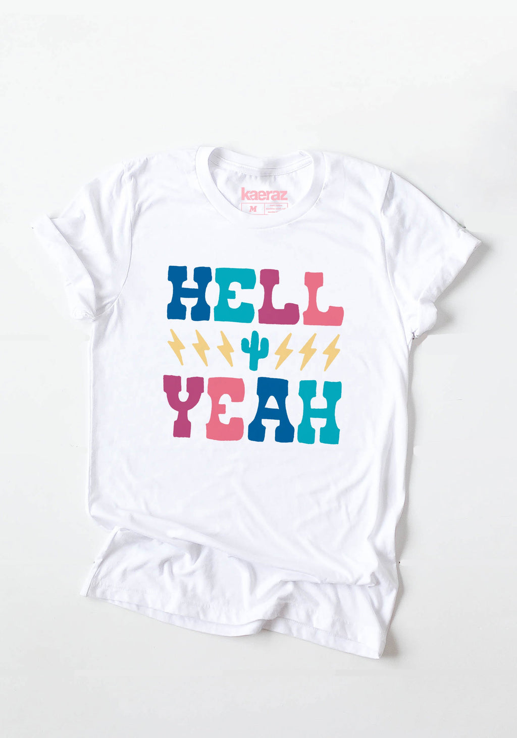 Hell Yeah Tee / womens graphic tees / vintage style 70s rock n roll band tshirt / cactus lightning bolt / music bands t shirt