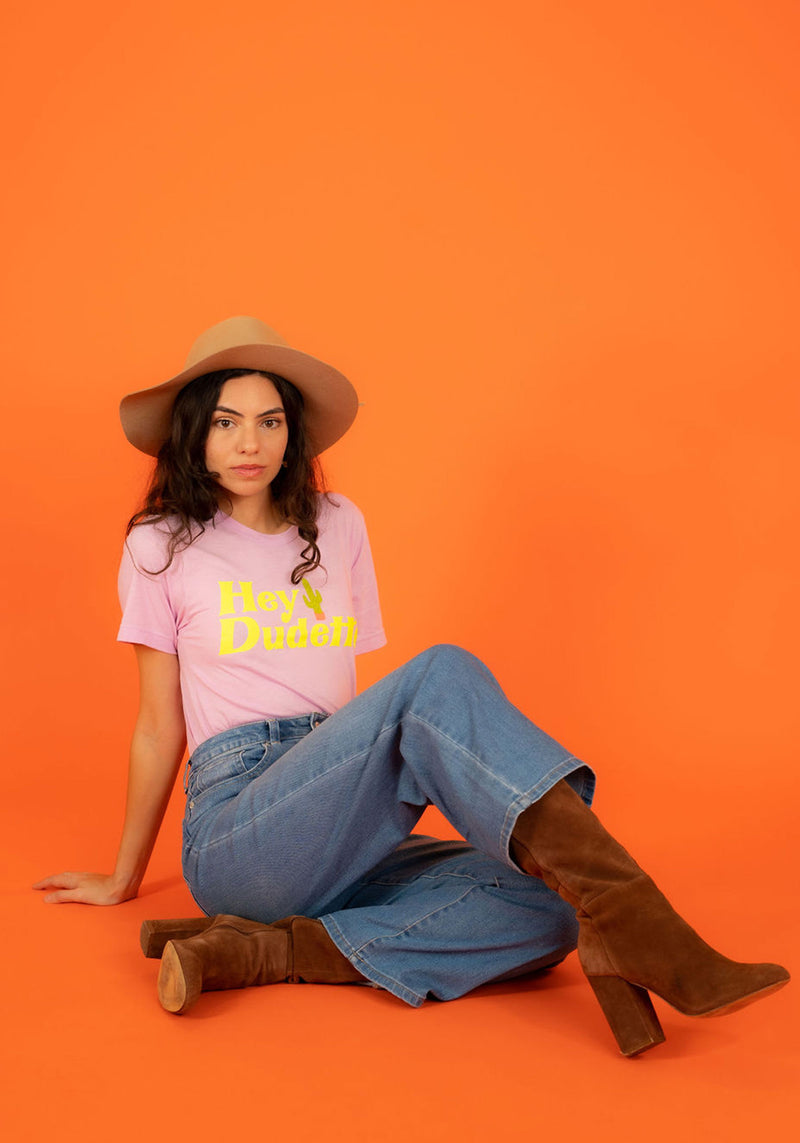 Hey Dudette Tee / womens graphic tees / vintage style retro 70s t shirt / cactus western shirt / southwest cowgirl t-shirt