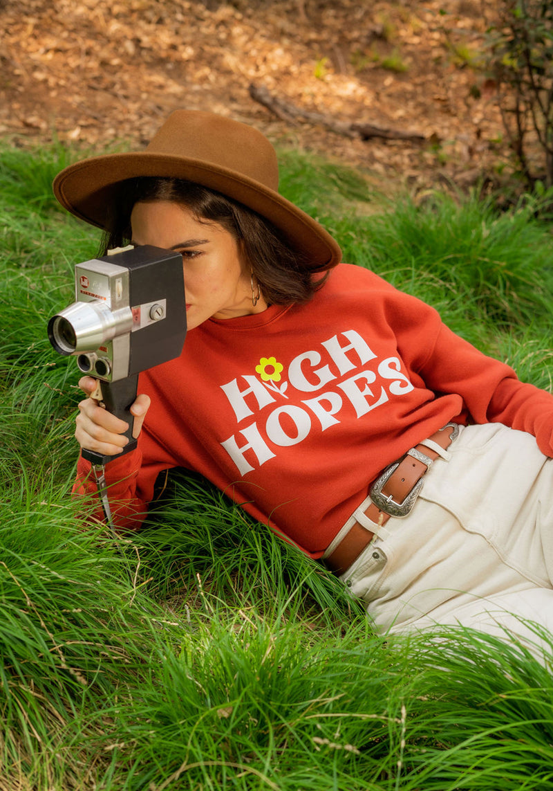High Hopes Fleece Sweatshirt / sweatshirts with sayings for women / vintage style 70s 60s cozy / fall autumn flower power / daisy sweater