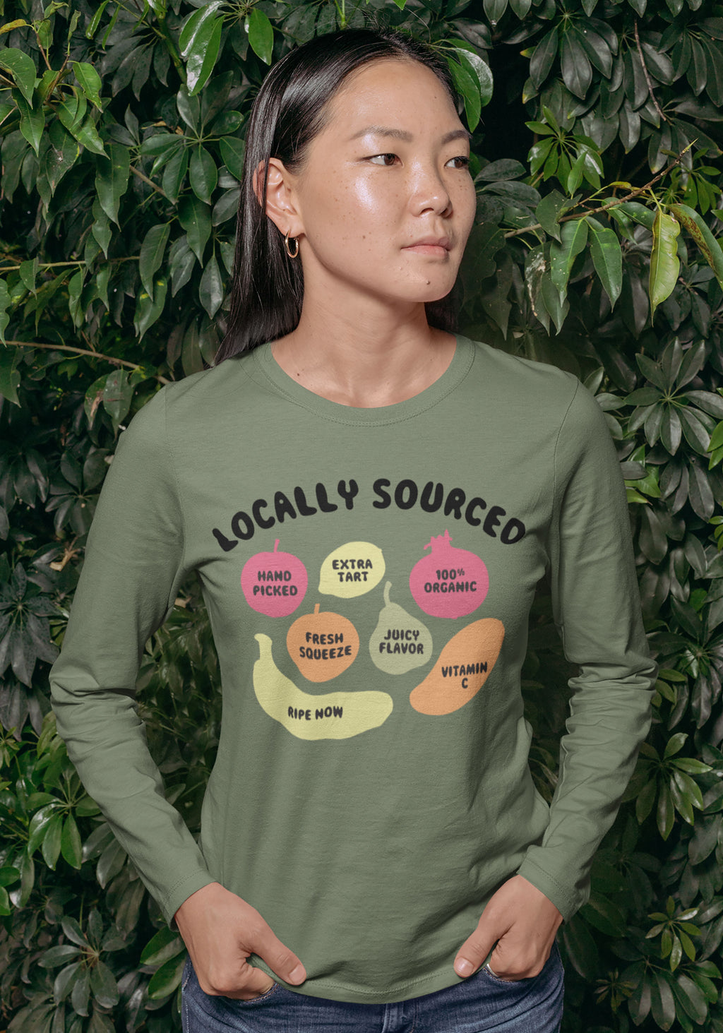 Locally Sourced Long Sleeve Tee / womens graphic tees / organic vegetarian vegan / vintage style shirt / farmers market fruits souvenir