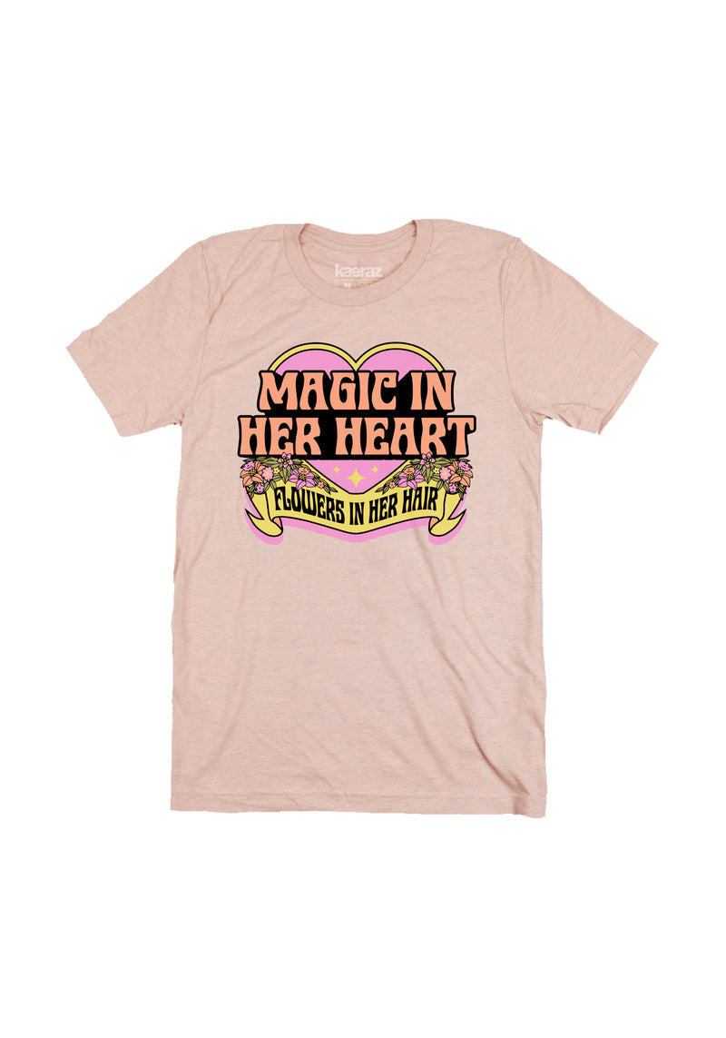 Magic in Her Heart Tee / womens graphic tees / 70s 80s retro vintage style / hippie flowers rock roll band tshirt