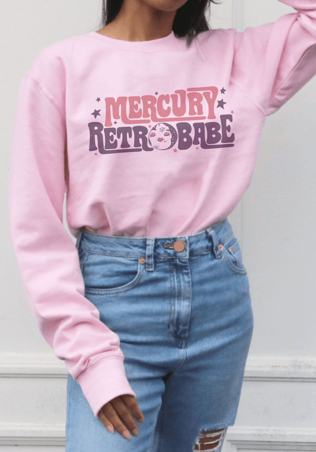 Mercury Retrobabe Sweatshirt / sweatshirts with sayings for women / vintage style 70s 60s cozy / retrograde astrology sweater