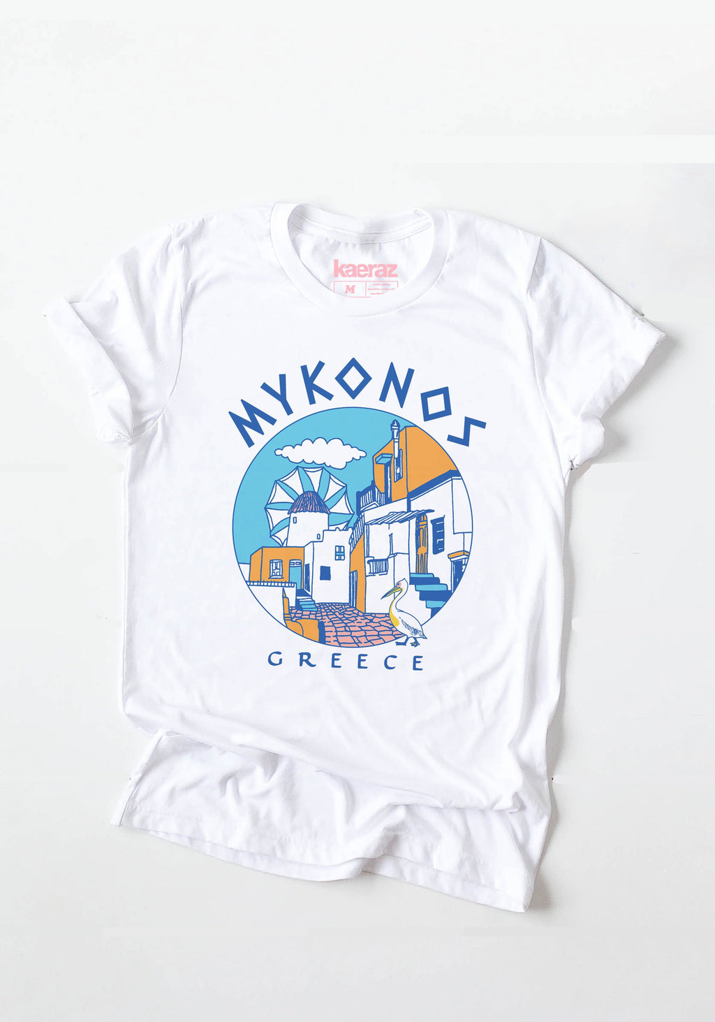 Mykonos Tee / womens graphic tees / vintage style 80s 90s Greece Greek souvenir tshirt / travel island shirt