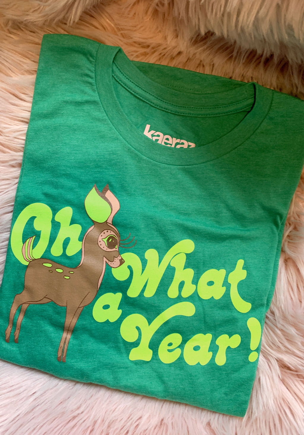 Oh Deer What A Year Tee / womens graphic tees / vintage style retro 60s 70s t shirt / dear woodland fall / neon souvenir shirt