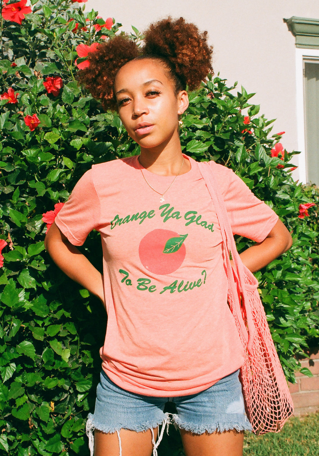 Orange Ya Glad Tee / womens graphic tees / 70s 80s retro vintage style / fruit oranges joke shirt / california valencia naranja tshirt