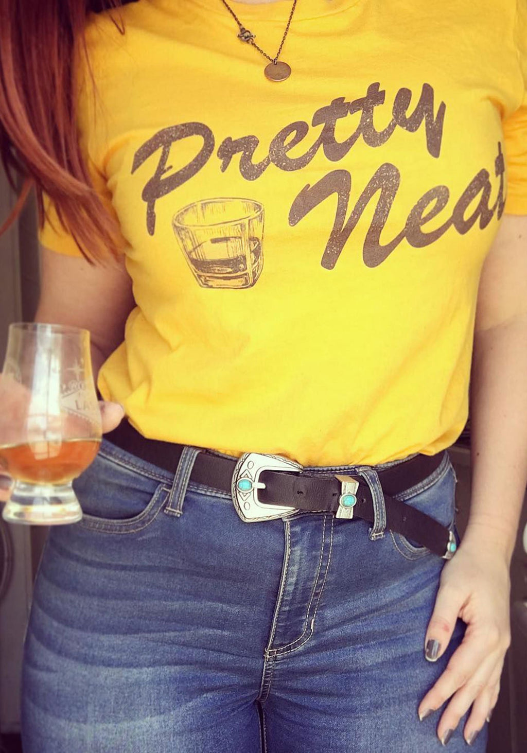 Pretty Neat Tee / womens graphic tees / vintage style 70s t shirt / whiskey drinking women / cowgirl southwest alcohol souvenir t-shirt