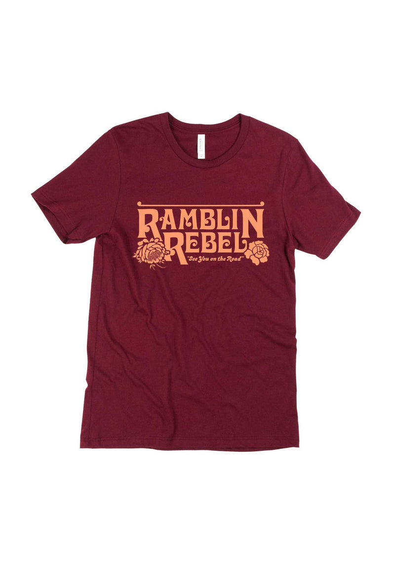 Ramblin Rebel Tee / womens graphic tees / vintage style 70s t shirt / travel road trip rose shirt / arizona california gifts t-shirt