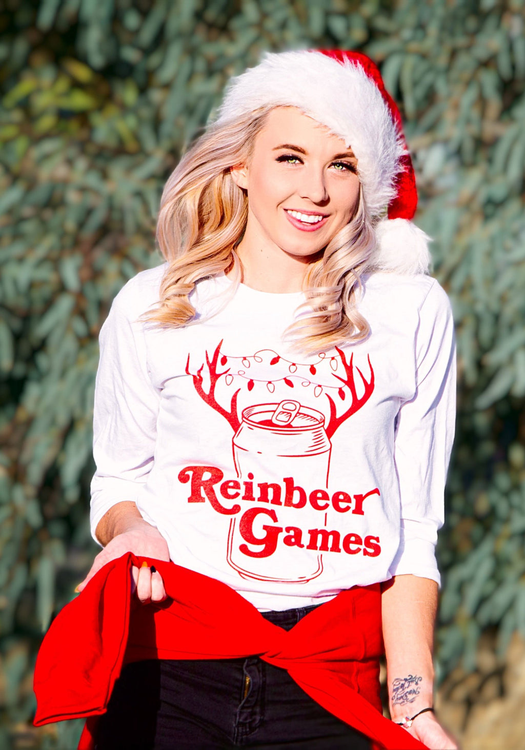 Reinbeer Games Long Sleeve Tee / graphic tees for women / christmas reindeer happy holidays / xmas festive beer drinking