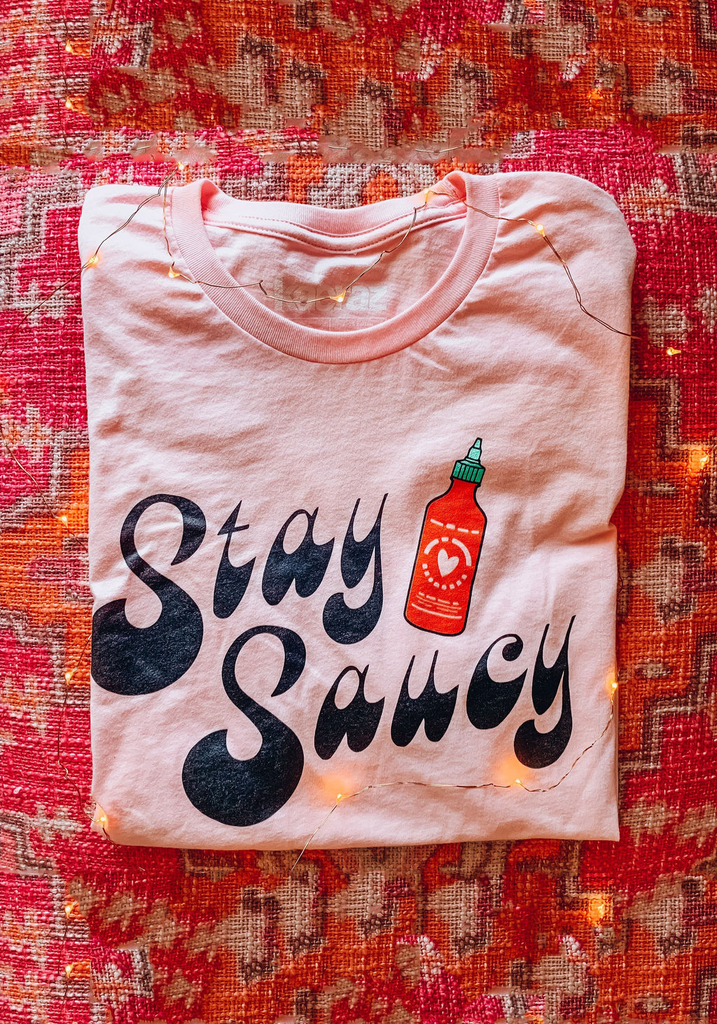 Stay Saucy Tee / womens graphic tees / sriracha cholula hot sauce shirt / spicy food snack foodie gift tshirt
